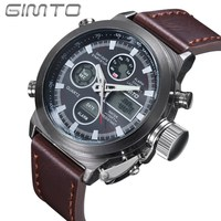 2016 GIMTO Brand Dive LED Digital Watches Men Military Sport Wristwatch Waterproof Leather Quartz Watch Clock