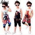 Девочек, мальчиков, одежда установить короткий рукав футболки + брюки, толстовки 2 шт. комплект одежды для детей, летней одежды детская одежда