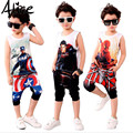 Girls boys clothing set short sleeve t shirt + hoodies pants 2pcs clothing set childrens summer clothes kids clothes