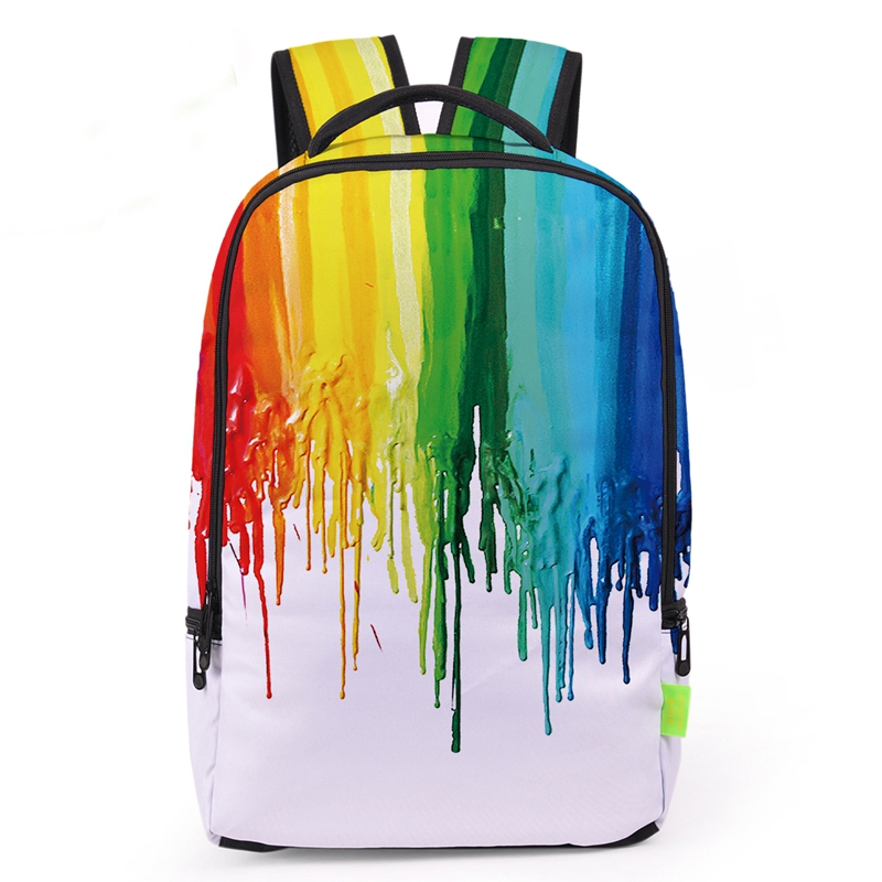Multi-color Young Boy And Girls Watercolor Ink Printing School Bags Women Fashion Graffiti Travel Rucksacks Unique Shoulder Bag