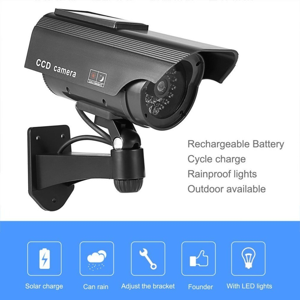 Solar Powered Fake Camera Dummy Camera High Simulation CCTV Camera Home Security Surveillance Camera With Led Red Light Flashing printio новогодний подарок