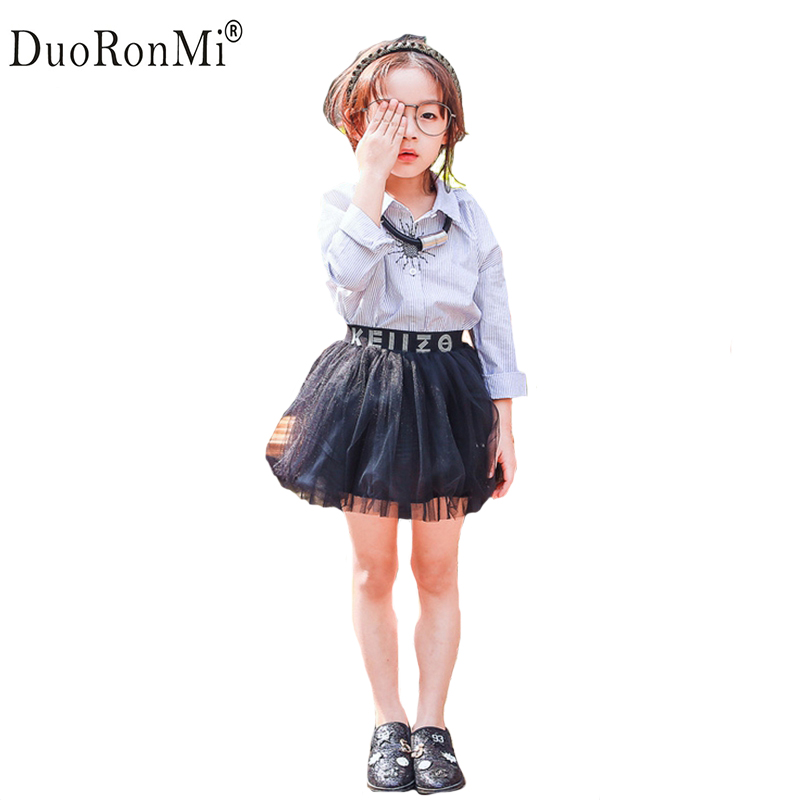DuoRonMi Kids Girls Clothing Sets Baby Girls Clothes Sets Children Cotton Blouse Mesh Skirts 2pcs Suits