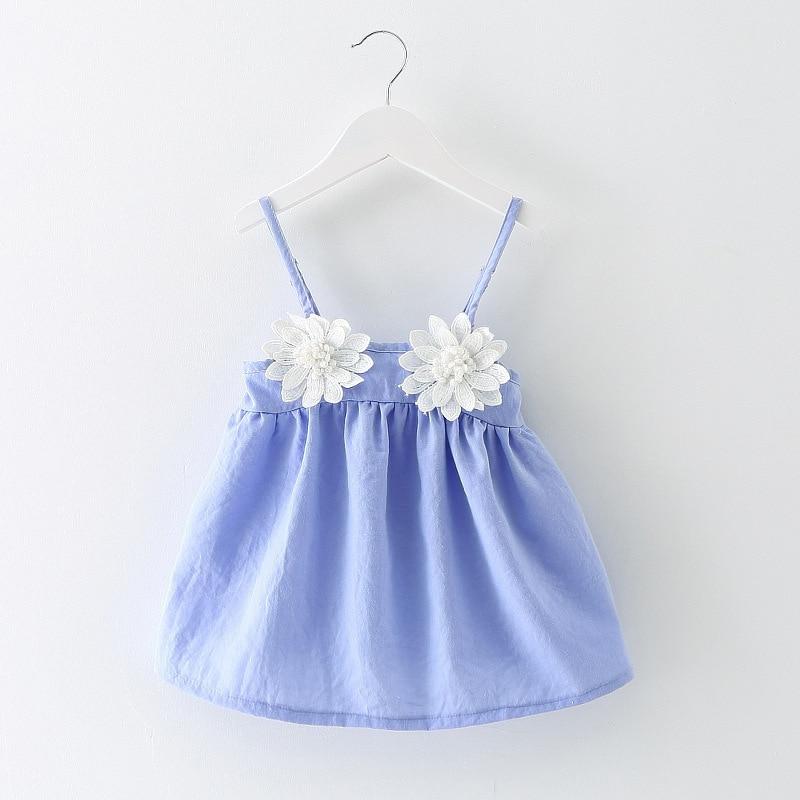 2016 New Summer Baby Dresses Girl Dresses Princess Dresses 100% Cotton Sling Childrens Flower Dresses 1-3 Years Free Shipping
