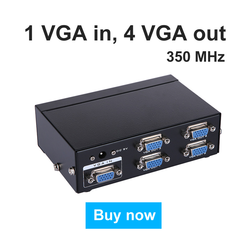 MT-VIKI VGA Video Splitter Distributor 1 input to 4 Output support 1 PC 4 widescreen LCD Monitors mt-3504