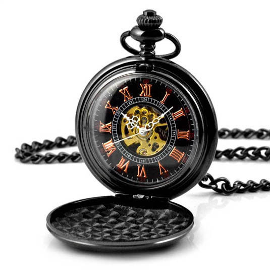 Skeleton Black Automatic Hollow Mechanical Pocket Watch Men Vintage Hand Wind Clock Necklace Pocket & Fob Watches With Chain luxury skeleton gold automatic mechanical pocket watch men vintage hand wind clock necklace pocket & fob watches clock pendant