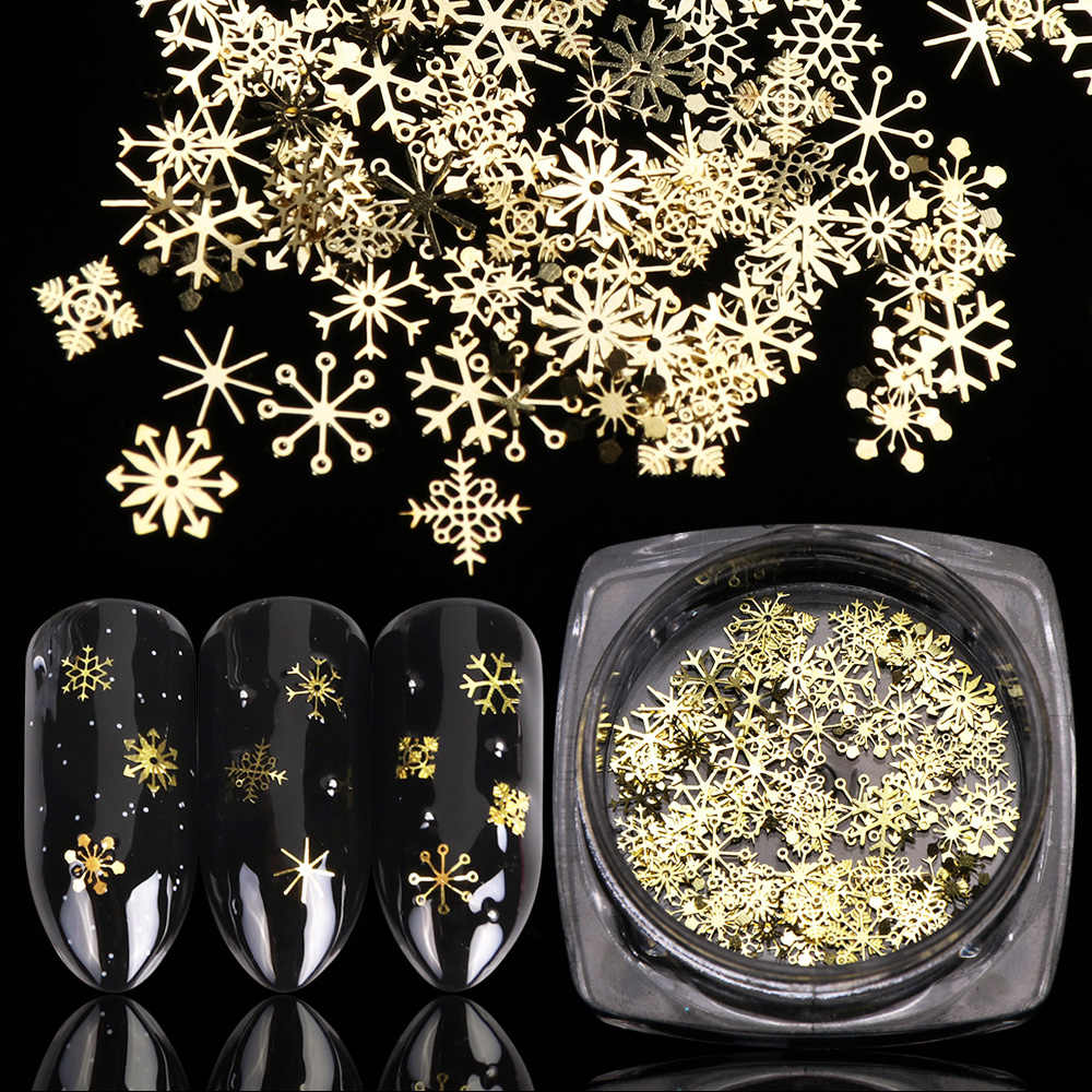 1 Bottle Hollow Out Gold Nail Glitter Sequins Snow Flakes Mixed Design Decorations for Nail Arts Pillette Nail Accessories LA889