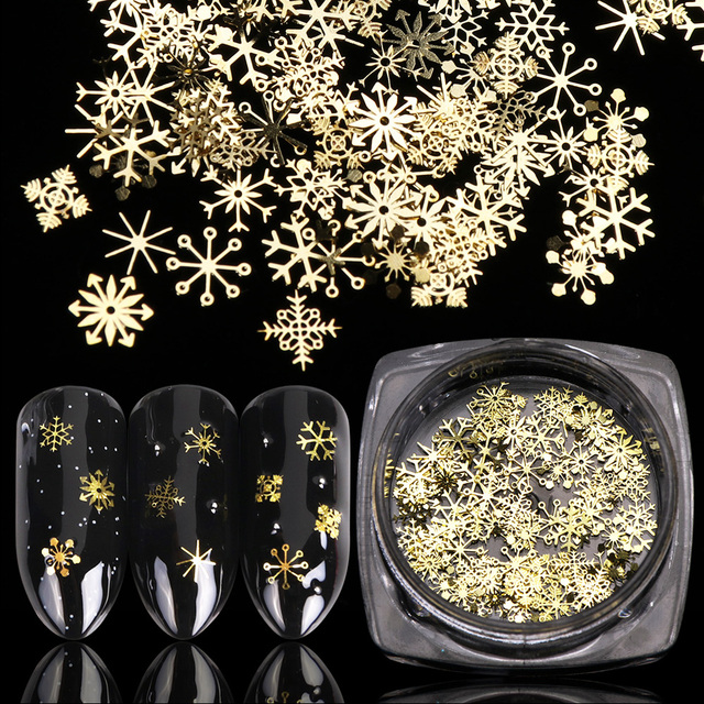 1 Bottle Hollow Out Gold Nail Glitter Sequins Snow Flakes Mixed Design Decorations for Nail Arts