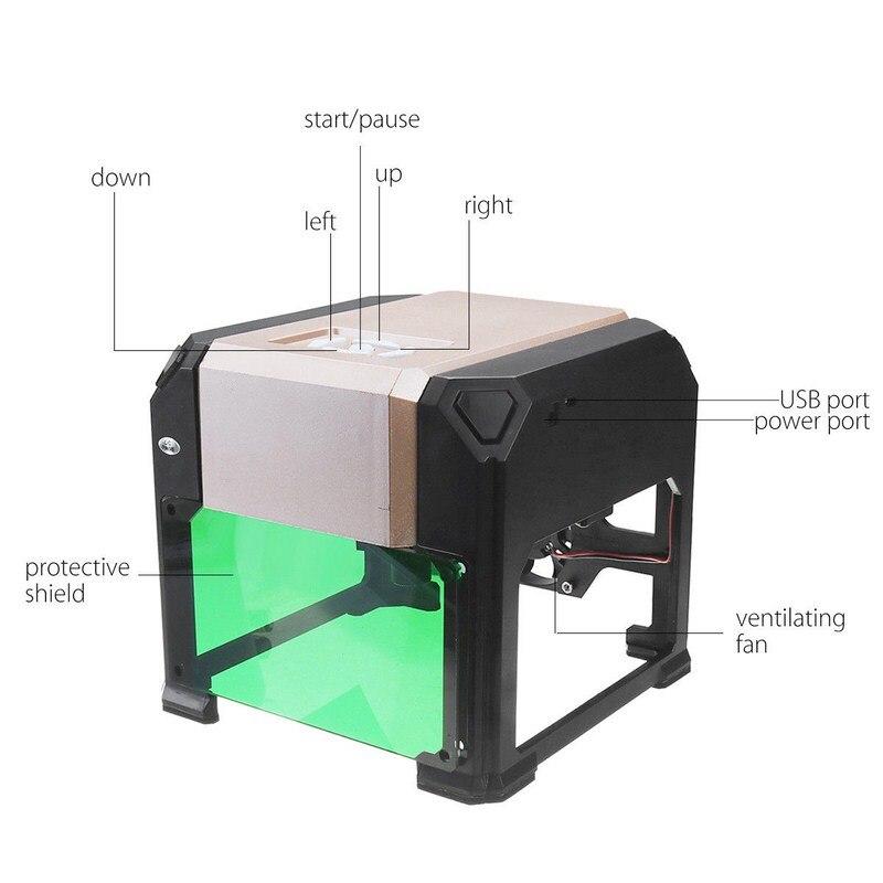 3000 mw Laser Machine De Gravure Bois Routeur Laser Cutter BRICOLAGE Imprimer Mini Lettrage Machine Logo Personnalisé 80*80mm grande Zone de Travail