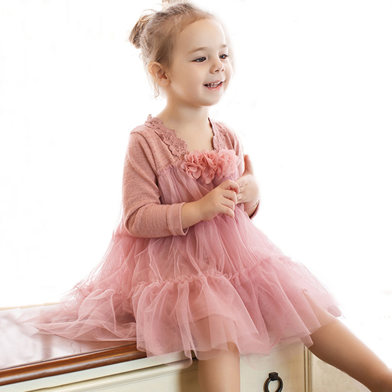 Girls Spring Dress 2018 New Fashion Princess Dress Long Sleeve Lace Floral Design for Girls Clothes Party Dress 2-7Y Clothes princess girls dress 2017 new fashion spring
