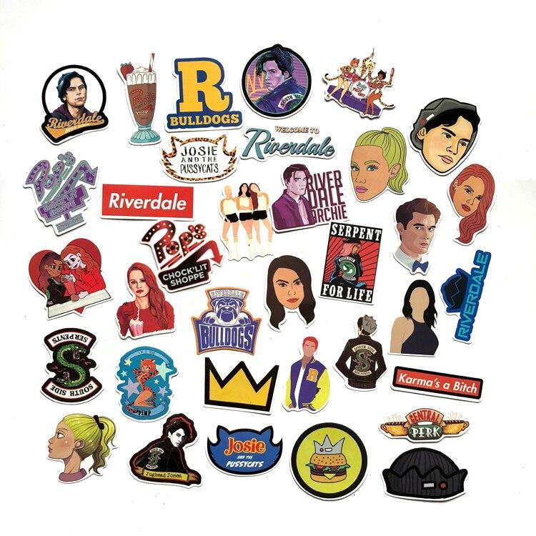 Gewidmet 35 Teile/satz Riverdale Aufkleber Für Laptop Skateboard Hause Dekoration Auto Styling Vinyl Aufkleber Doodle Kühlen Diy Funktioniert Starke Verpackung Sammeln & Seltenes Klassische Spielzeug
