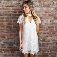 Women's Sweet Lace Dress Summer Short Sleeve Short White Dresses V Neck Cut Out Elegant Shift Dress #VE