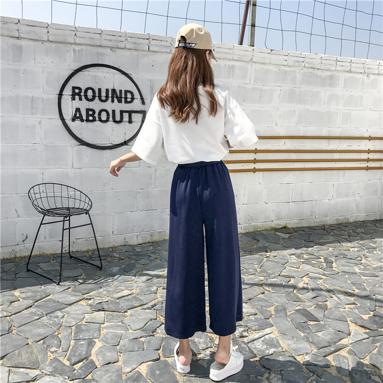 19 Women Casual Loose Wide Leg Pant Womens Elegant Fashion Preppy Style Trousers Female Pure Color Females New Palazzo Pants 58