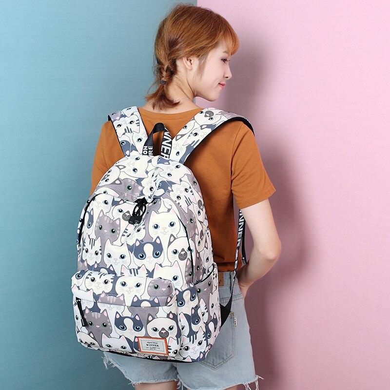 Waterproof Cat Printing Backpack Women School Students Back Pack Female 14-15.6 Inch Laptop Cute Book Bag For Girls #6