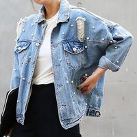 Denim Jacket Women Thin Rhinestone Pearl Beaded Denim Outerwear Ladies Elegant Vintage Hole Jacket Coat Casacos