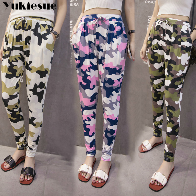 Camouflage women's   pants     capris   with high waist stretch summer 2019 harem   pants   for women trousers woman   pants   female Plus size