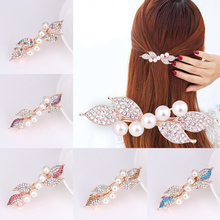 1Pc Chic Fashion Metal Leaf Shape Hair Clip Barrettes Rhinestone Pearl Hairpin Barrette Hair Claws Women Hair Styling Tool chic rhinestone and leaf shape embellished black and red sunglasses for women