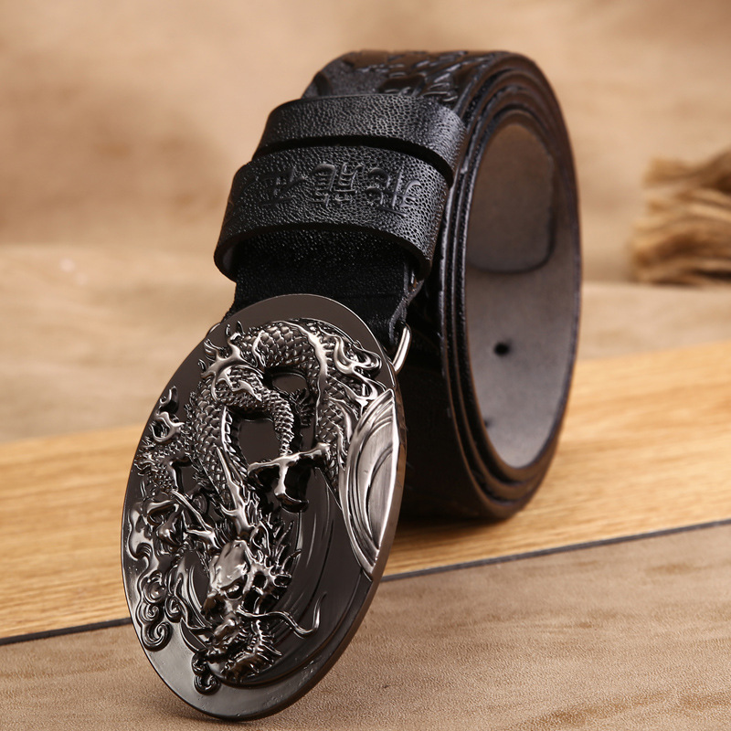 VOHIO 2018 Mens Belt 4.0 Wide 100% Leather Belts Luxury Dragon Buckled Cowhide Belt Men's Gold Buckle Silver Buckle Freeshipping