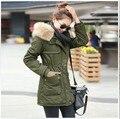 Бесплатная доставка зима леди съемный большой меховой капюшон пальто, Армия зеленый искусственный шерстяной подкладкой куртки пальто, Мода одежда пальто