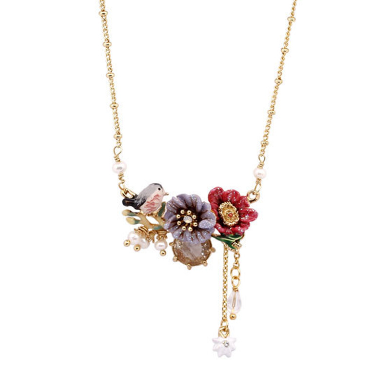 Luxury flowers bird gem pendant necklace enamel glaze poppy tassel choker necklaces pendant necklace party jewelry
