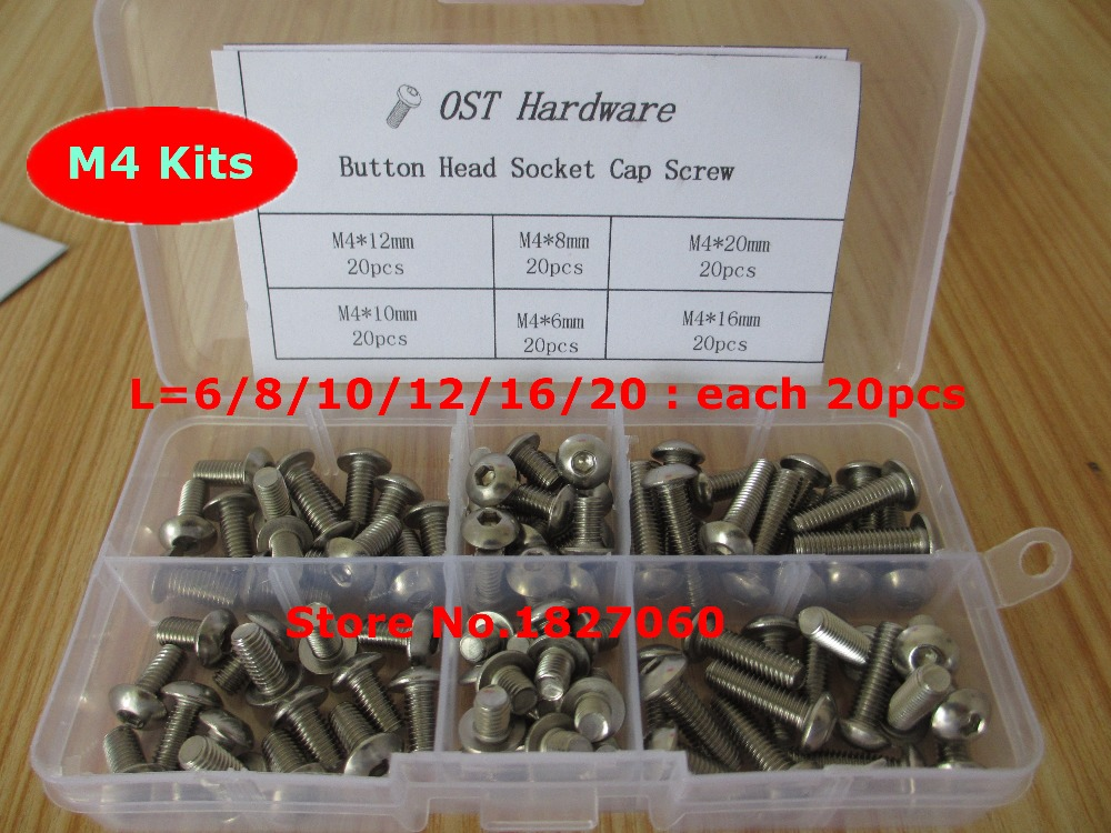 120Pcs 6//8//10//12//16//20mm Stainless Steel M4 Hexagon Socket Cap Head Screws Kit