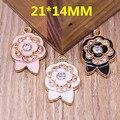 21*14 MM forma medalhão flutuante das flores Na Moda Novos encantos Strass decoração liga gota de óleo banhado a ouro Rose florals pingentes