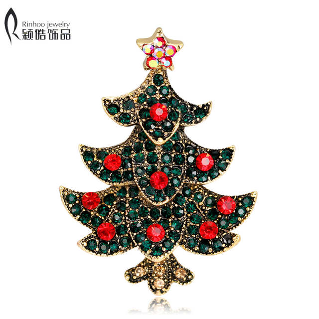 Vintage Style Christmas Ornaments.Antique Vintage Style Multicolor Rhinestone Red Crystal Merry Christmas Tree Brooch Pins Christmas Day Gift