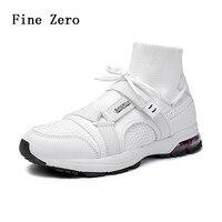 Original Flying Woven Socks Shoes Heel Cushion Shock Absorption Sports Shoes Comfortable Breathable Hook Loop Running Shoes Men