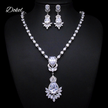 DOKOL Exquisite Bridal Jewelry Sets Silver Color Water Drop Earrings and Necklaces Set With Clear AAA+ Cubic Zirconia DKS0011