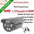 High quality! 6pcs array leds Day night vision AHD Camera 1/3''CMOS Sensor 960P Outdoor IRCUT Filter waterproof 1.3MP AHD Camera