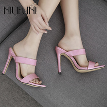 Summer New Pointed Patent Leather Women's Sandals Woman Candy Color Slippers NIUFUNI High Heels Casual Fashion Ladies Shoes цена
