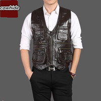 Brand Genuine Cow Leather Vest Mens Photography Vest With Many Pockets Brown Motorcycle Jacket Male Waistcoat 01