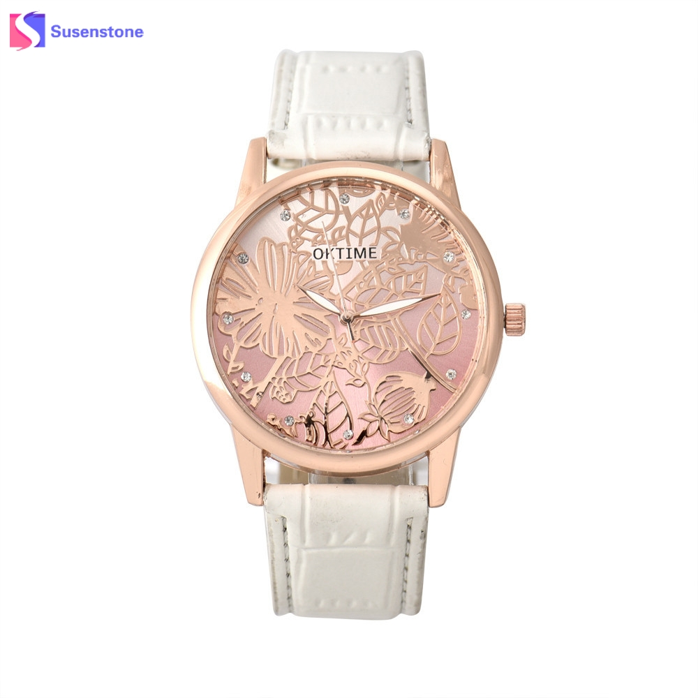 Women Fashion Floral Pattern Rhinestone Leather Band Analog Alloy Quartz Wrist Watch Ladies Female Clock Dress Watches relogio