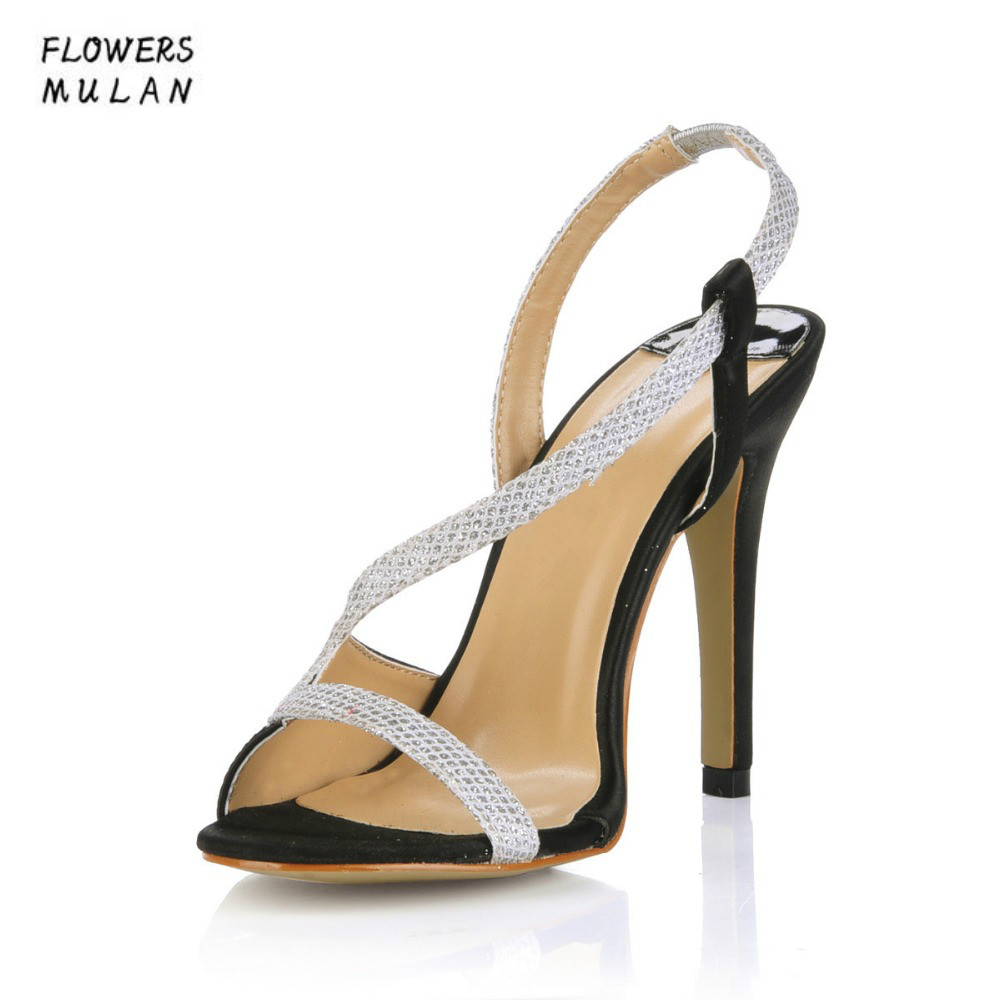 Mixed Color Patchwork Women High Heels Sandals Shoes Peep Toe Narrow Band Gladiators Lady Party Event Stilettos Plus Size 35-43