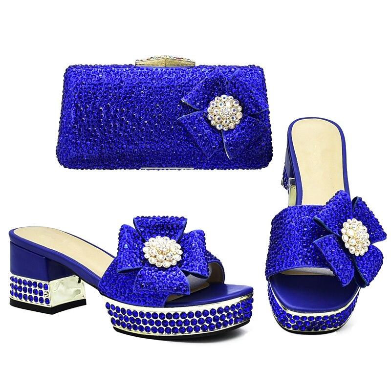 Juego Nigeria Azul Italiano La Último Fiesta Para Rhinestone Conjunto amarillo El Zapatos rojo Africano Y oro Bolso Bolsa De Decorado Con plata púrpura Moda Diseño Boda A ZTqR1