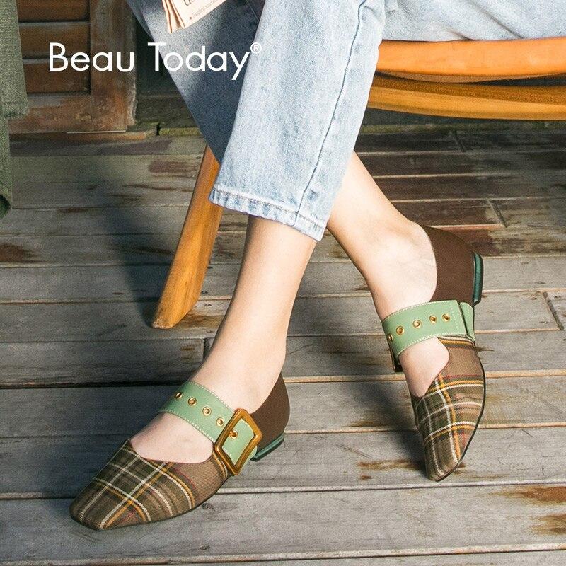 Beautoday 여성 로퍼 정품 가죽 송아지 가죽 금속 버클 starp 스퀘어 발가락 슬립 온 여성 플랫 신발 수제 30053-에서여성용 플랫부터 신발 의  그룹 1