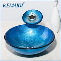KEMAIDI Blue Painting Color Round Bathroom Art Washbasin Clear Tempered Glass Vessel Sink With Waterfall Chrome Faucet Set