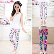 Lovely Newest Baby Kids Girls Leggings Pants Flower Floral Printed Elastic Long Trousers Fit For 2-14Y M2