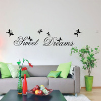 Hot Selling Sweet Dream Quotes Wall Stickers Home Decorations Living Bedroom DIY Decals