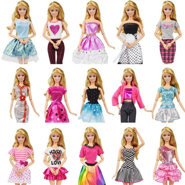 9 Item/Set Boneca Acessórios = 3 Pcs Roupa Da Boneca Vestido + Colar De Plástico + Aleatória 3 3 Pares sapatos para Barbie boneca de Brinquedo de Presente Menina