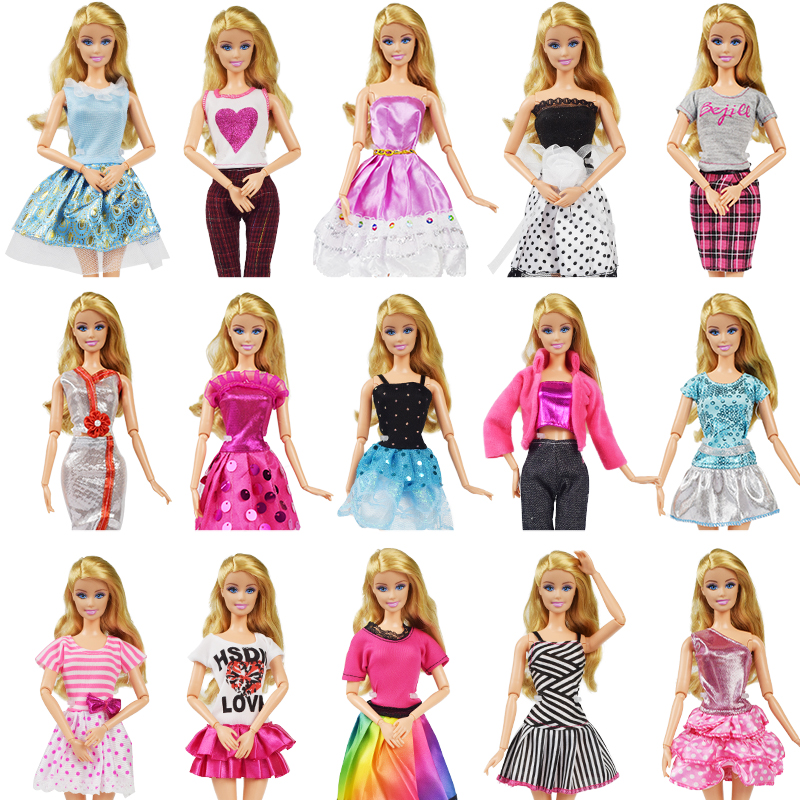 9 Item/Set Doll Accessories=3 Pcs Doll Clothes Dress+ 3 Plastic Necklace + Random 3 Pairs Shoes for Barbie doll Girl Toy random 12 pcs mixed sorts barbie doll fashion clothes beautiful handmade doll party dress for barbie dolls girl gift kid s toy