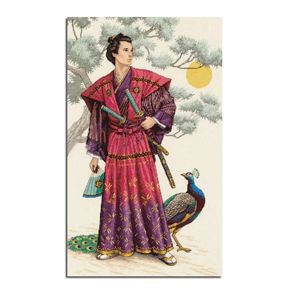 Вышивка самурая крестом