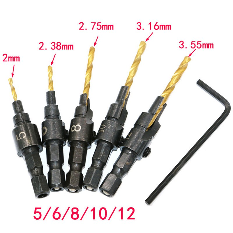 цена на HSS Countersink 5pcs Drill Bit Set Quick Change 1/4 Hex Shank Trim Screw #5 #6 #8 #10 #12 Counter Bore Screw Woodworking Tools
