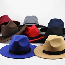 2018 acrylic solid bow brimmed hat Travel cap Fedoras jazz hat Panama hats for w