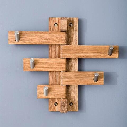 creativa gancho de la pared perchero percha giratoria de madera de pared de acero inoxidable fuerte