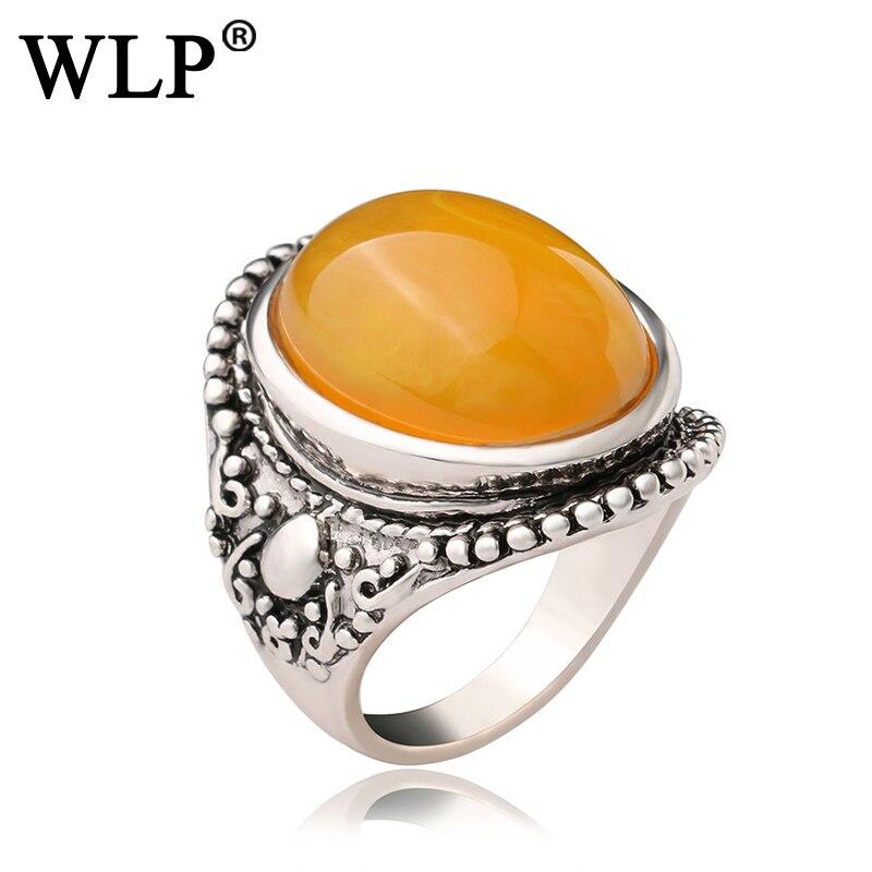 WLP 2018 New Top Selling Ring Trendy Orange Luxury Jewelry Retro Style Geometric Design Antique Silver Rings Elegant Noble A2421
