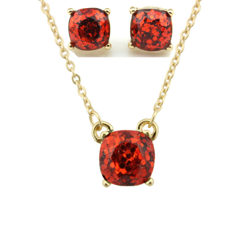 Fashion KS Gold Small Square Opal Glitter Necklace Earrings Sets for Women Classic Brand Square Choker