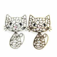 Moda Unisex ahueca hacia fuera adorables broches de gato broche de cristal de diamantes de imitación Animal accesorios de blusa suéter para Mujeres Hombres