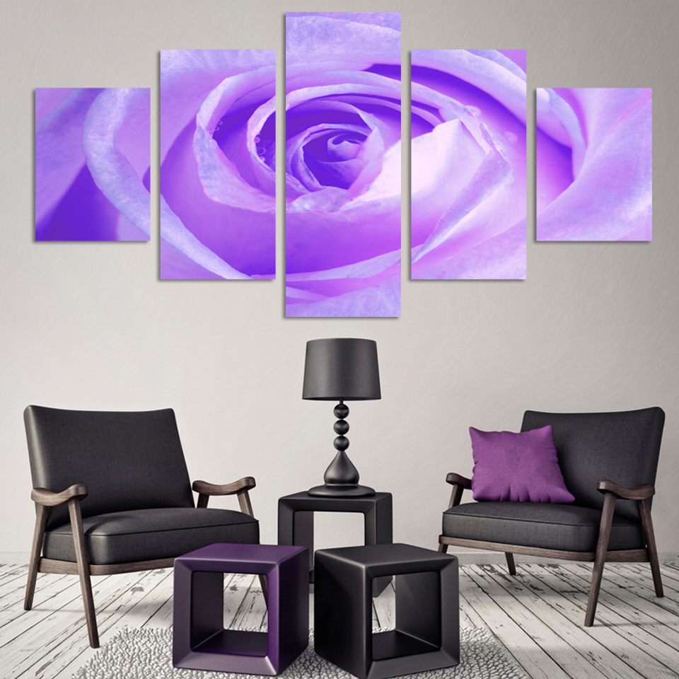 New Arrival Top Fashion Modern No Frame 5 Pcs Free Shipping Purple Rose Pictures Wall Art Living Room Decorative Picture