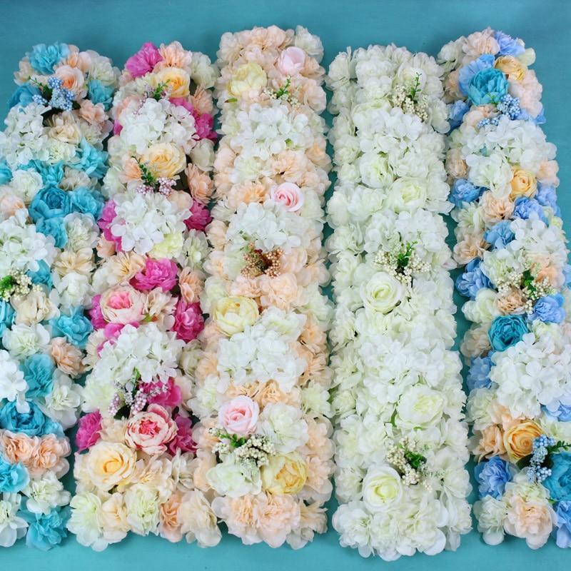 Fond de mariage décoration fleur mariage route plomb fleurs longue Table centres de Table fleur arche porte linteau fleur soie Rose