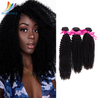 Sevengirls Malaysian Kinky Curly Natural Color 3Bundles Virgin Hair For Black Women 10 30 Inch 100% Human Hair Weaving